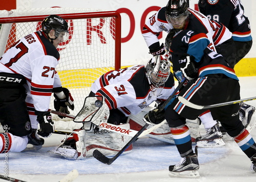 Quebec Remparts Goalie Zachary Fucale Makes A Save Against The