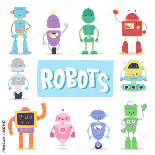 Robots And Transformer Androids Retro Cartoon Toys Character Future