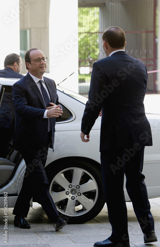 Abbott welcomes Hollande in Canberra - Buy this stock photo