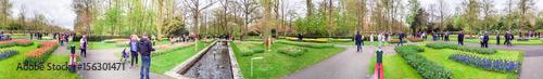 Photo  KEUKENHOF; THE NETHERLANDS - APRIL 2015: Tourists visit Keukenhof gardens in spring