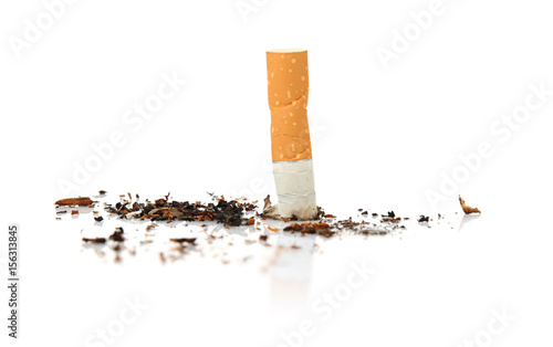 Valokuva  Cigarette butt, isolated on white