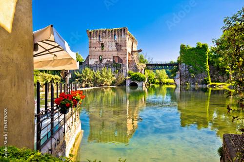 Mincio river view from idyllic village of Borghetto