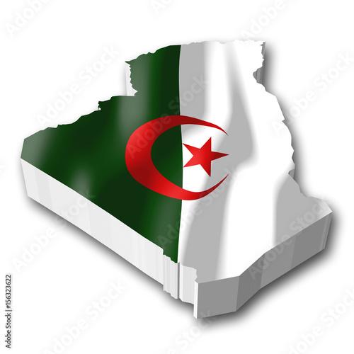 Poster Algérie 3D flag - Algeria