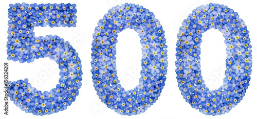 Fotografia  Arabic numeral 500, five hundred, from blue forget-me-not flowers