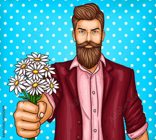 Stampa su Tela Vector pop art illustration of a brutal bearded man, macho is holding out a bouq
