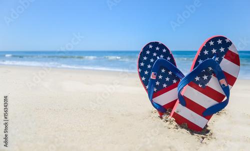 Photo  Patriotic USA background on the sandy beach