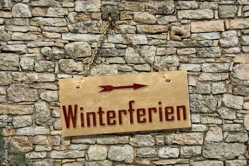 Fototapeta Schild 235 - Winterferien obraz na płótnie