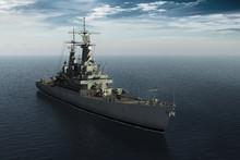 Modern Warship In High Seas