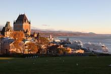 Le Château Frontenac, Famous Landmark Of Quebec City, Canada On Sunrise