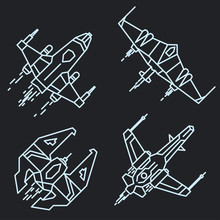 Spaceship Outline, Linear Flyi...