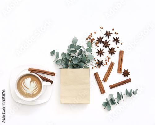 Workspace with cup of coffee and eucalyptus branches Tapéta, Fotótapéta
