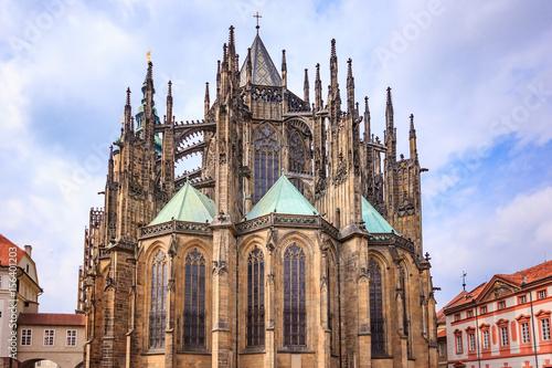 Plakat Katedra św. Wita w Pradze, jest to doskonały przykład architektury gotyckiej i jest największym i najważniejszym kościołem w Czechach