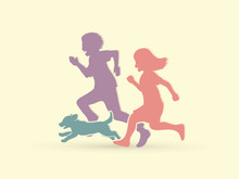 Little Boy And Girl Running Together With Puppy Dog Graphic Vector
