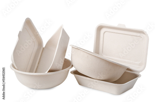 Group of product made from bagasse for container food. Wallpaper Mural