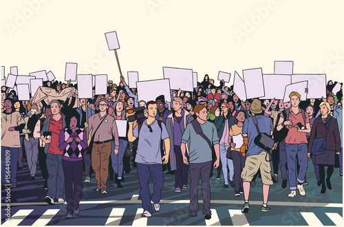 Fotografie, Obraz  Illustration of peaceful crowd protest with blank signs in high detail