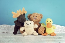 Group Of Stuffed Animal Toys On The White Wooden Table, Animal Dolls, Friendship Concept.