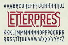 Letterpress Printing Style Vintage Typeface With Special Characters