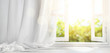 canvas print picture - window with curtain