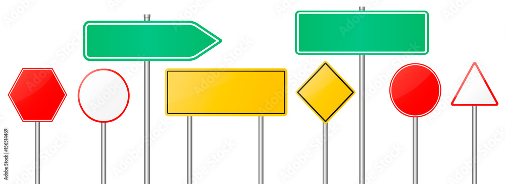 Fototapety, obrazy: road sign set blank template