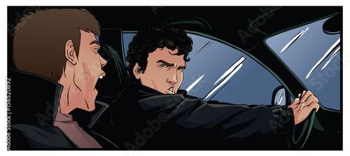 Photo Two men in the car, shouting something
