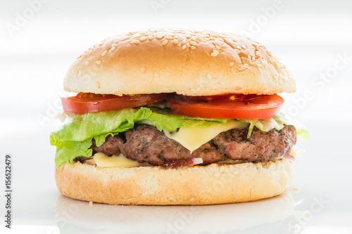 Staande foto Snack Classic burger, cheeseburger