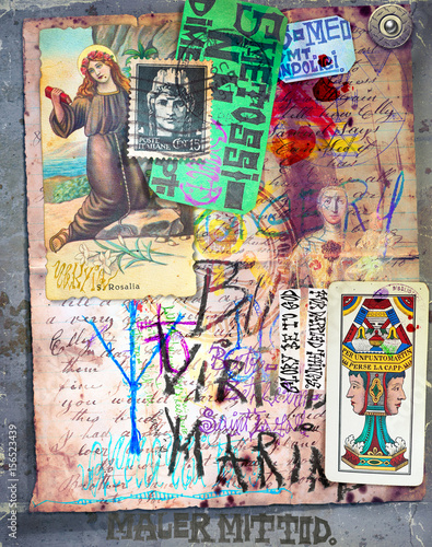 Poster Imagination Mysterious manuscript with esoteric and astrological draws,sketches and scrapbooks