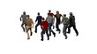 Small group of men running - 3D illustration