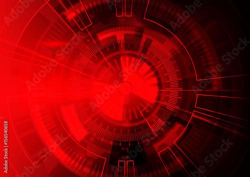 Plakat Czerwony technologii tło, Abstrakcjonistyczny cyfrowy technika okrąg