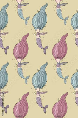 wzor-w-syrenki-z-kolorowymi-wlosami-na-bezowym-tle