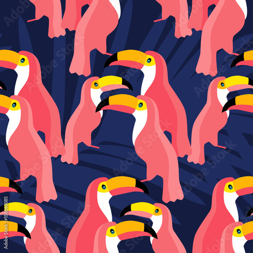 fototapeta na szkło Seamless vector background. Pink toucans on a tropical background. Vector illustration.