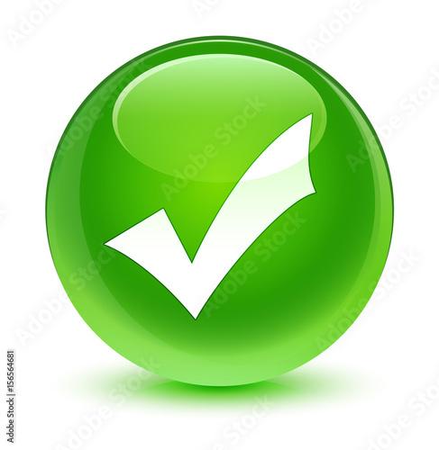 Fotografie, Obraz  Validation icon glassy green round button