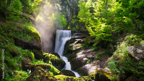 Staande foto Watervallen Black Forest - Triberg Waterfall with vapour and sunshine