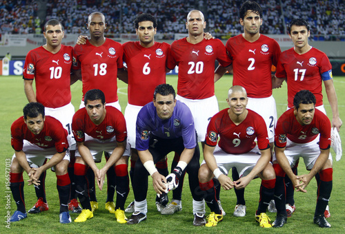 big sale 652d8 57c95 Members of Egypt's national soccer team pose for ...