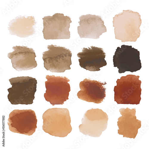 Brown blots watercolor set Fototapete