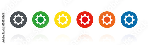 Carta da parati Zahnrad - Farbige Buttons