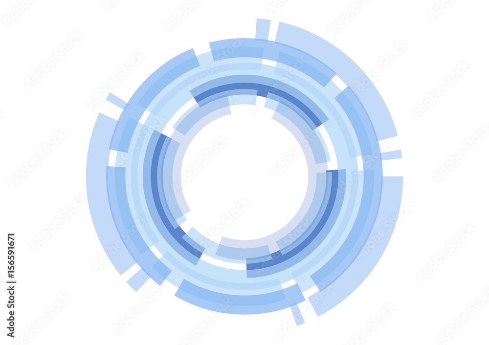 vector abstract technology blue circle on white background.