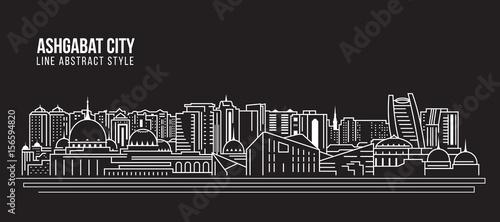 Cityscape Building Line art Vector Illustration design - Ashgabat city Canvas Print