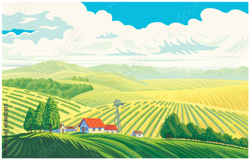Spoed Foto op Canvas Wit Rural landscape with a beautiful view of distant fields and hills. Vector illustration.
