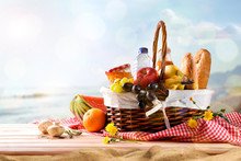 Picnic Wicker Basket With Food...