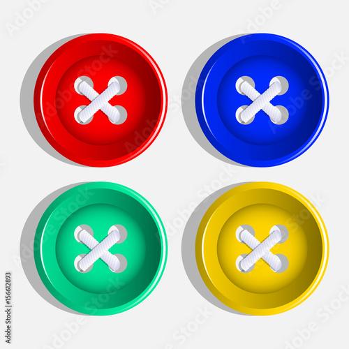 Fotografía  Buttons. Set of multicolored buttons. Vector.