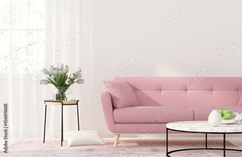 Living room with a pink sofa - Buy this stock illustration and ...