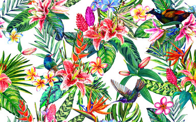 Naklejka Egzotyczne Seamless tropical floral pattern. Hand painted watercolor exotic leaves, flowers and birds, on white background. Textile design.