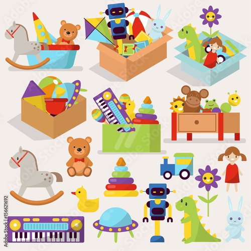 Boxes Of Kid Toys Vector Illustration Stuffed Blocks Cartoon Cute