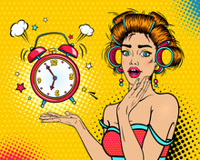 Wow Female Face. Sexy Young Surprised Woman Housewife With Open Mouth And Hair Curlers, Bright Makeup And Alarm Clock Ringing. Vector Background In Pop Art Retro Comic Style. Party Invitation Poster.