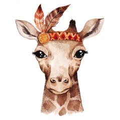 Panel Szklany Boho Watercolor giraffe portrait