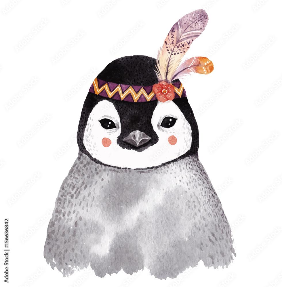 Watercolor penguin portrait,
