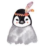 Watercolor penguin portrait, - 156636842