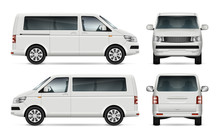 Mini Bus Vector Template For Car Branding And Advertising. Isolated City Minibus On White. All Layers And Groups Well Organized For Easy Editing And Recolor. View From Left And Right Side, Front, Back
