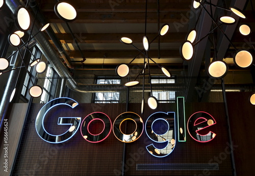 The neon Google sign in the foyer of Google's new Canadian
