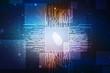 Security concept: fingerprint on digital screen